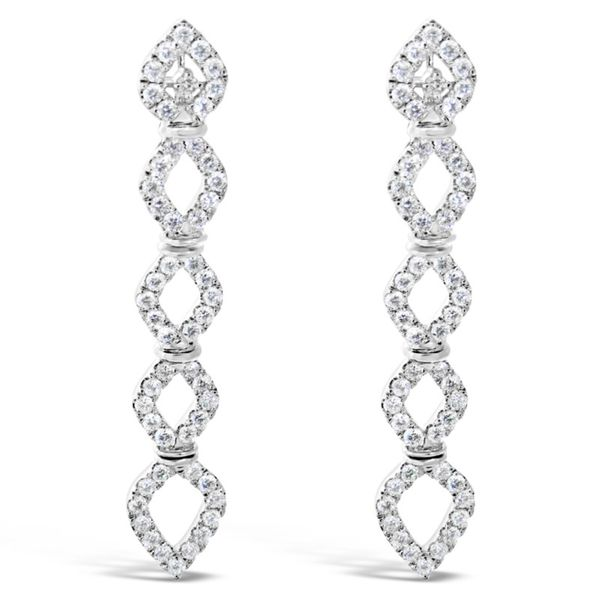Van Adam's Collection 14K White Gold Diamond Drop Earrings Van Adams Jewelers Snellville, GA