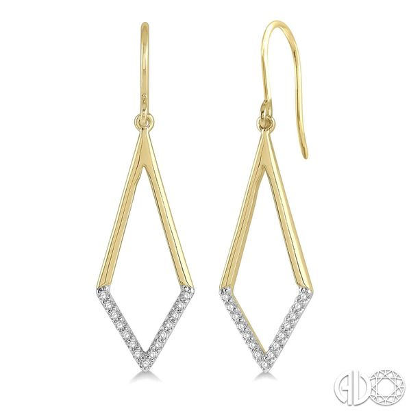 10K Yellow Gold Diamond Drop Earrings Van Adams Jewelers Snellville, GA