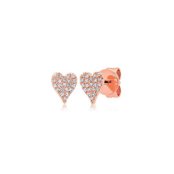 14K Rose Gold Heart Earrings Van Adams Jewelers Snellville, GA