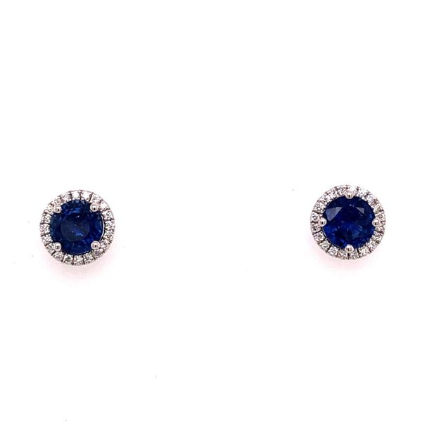 18K White Gold Sapphire and Diamond Stud Earrings Van Adams Jewelers Snellville, GA