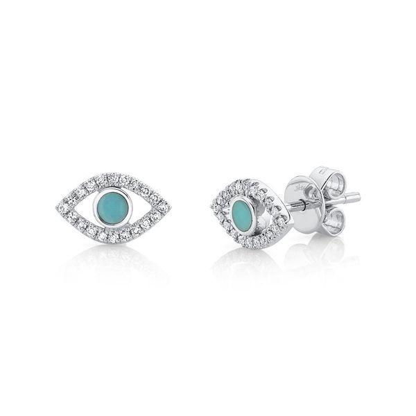14K White Gold Turquoise and Diamond Evil Eye Earrings Van Adams Jewelers Snellville, GA