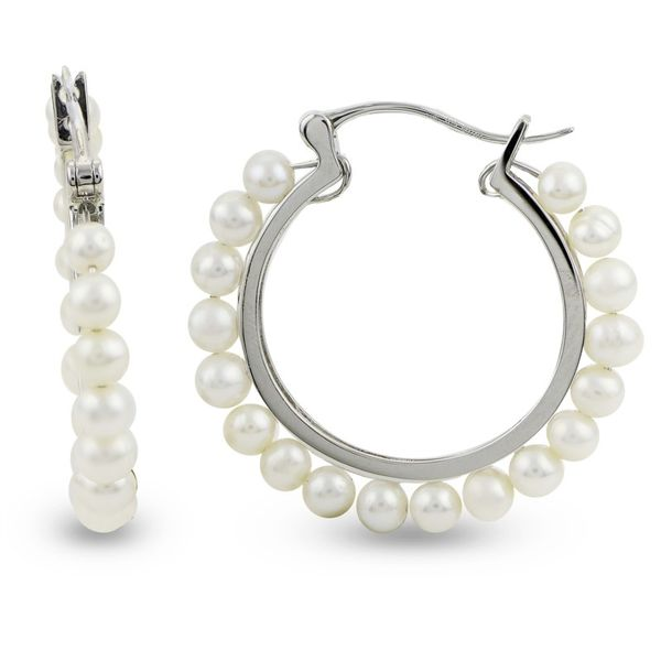 Sterling Silver Freshwater Pearl Hoop Earrings Van Adams Jewelers Snellville, GA