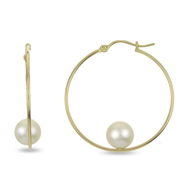 Lady's Yellow Gold 14 Karat Pearl Earrings With 2 8.00 X 8.50 Mm Cultured Pearls Van Adams Jewelers Snellville, GA