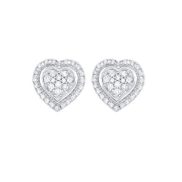 Silver Heart Shaped Diamond Earrings Van Adams Jewelers Snellville, GA