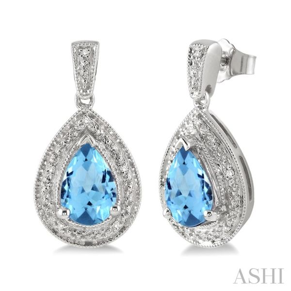 Pear Shape Silver Gemstone & Diamond Earrings Van Adams Jewelers Snellville, GA