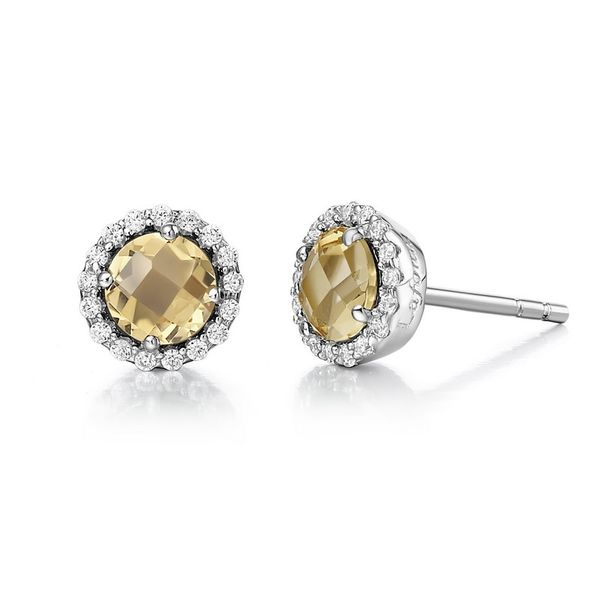 Lafonn Sterling Silver Citrine Earrings Van Adams Jewelers Snellville, GA