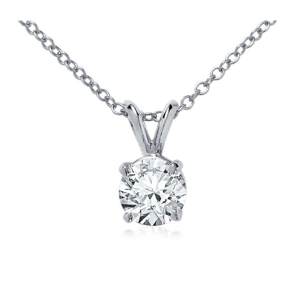 14K White Gold Diamond Solitaire Pendant Van Adams Jewelers Snellville, GA