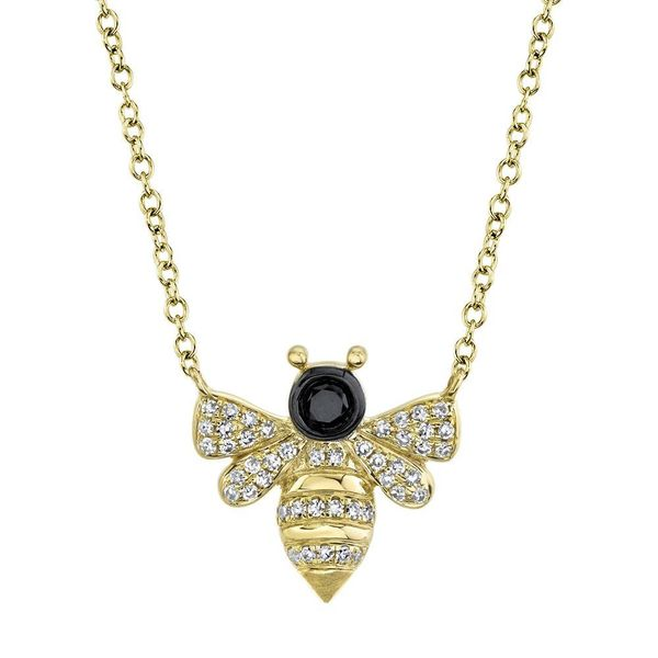 Black and White Diamond Bee Necklace Van Adams Jewelers Snellville, GA