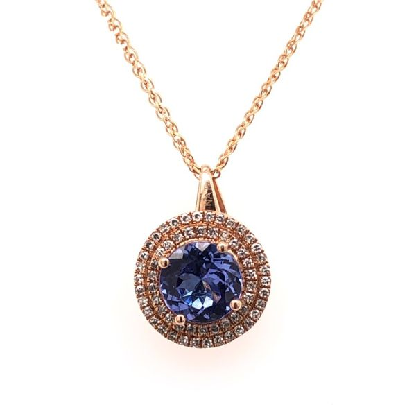 14k Rose Gold Tanzanite and Diamond Necklace Van Adams Jewelers Snellville, GA