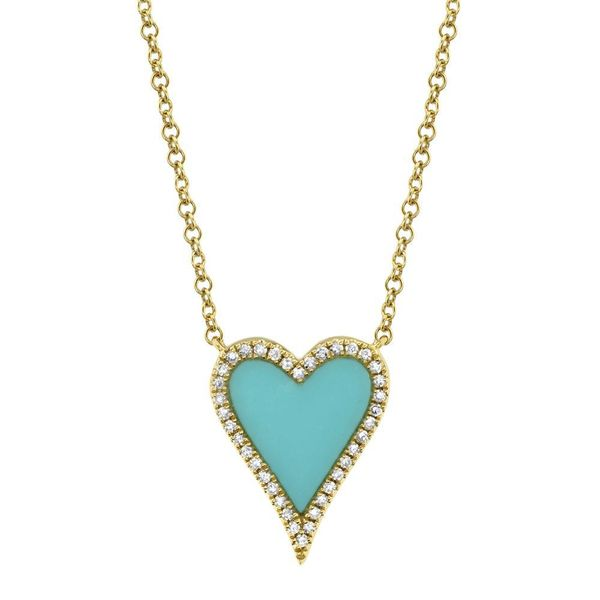 Turquoise and Diamond Heart Necklace Van Adams Jewelers Snellville, GA
