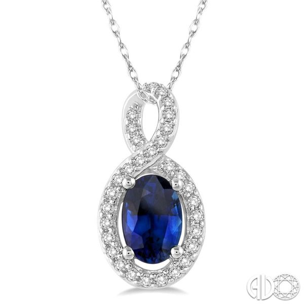 Oval Sapphire and Diamond Pendant Van Adams Jewelers Snellville, GA