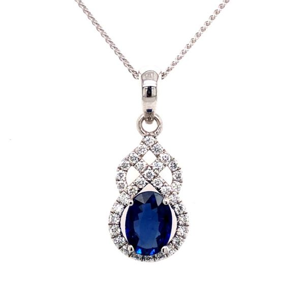 Van Adam's Collection 14K White Gold Sapphire Pendant Van Adams Jewelers Snellville, GA