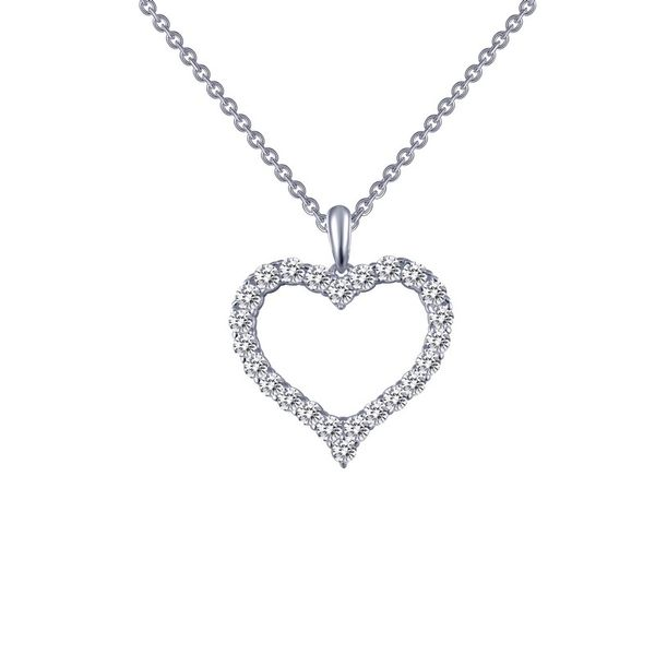Silver heart necklace with simulated diamonds Van Adams Jewelers Snellville, GA