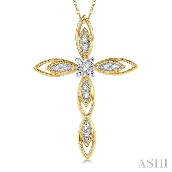 10K Yellow Gold Diamond Cross Necklace Van Adams Jewelers Snellville, GA