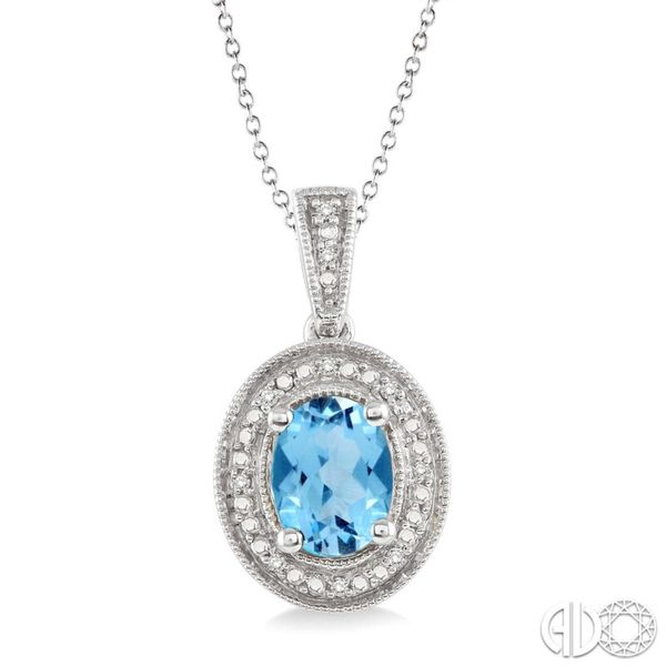 Oval Shape Silver Gemstone & Diamond Pendant Van Adams Jewelers Snellville, GA