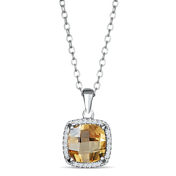 Sterling Silver Citrine and Diamond Pendant Van Adams Jewelers Snellville, GA
