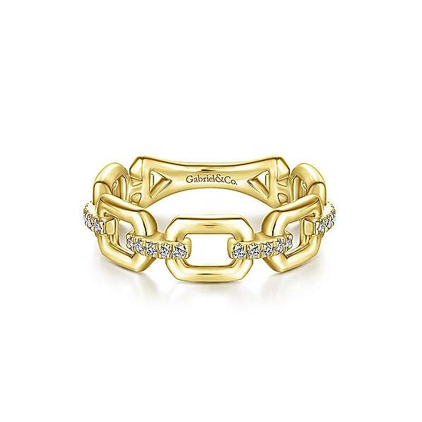 14K Yellow Gold Chain Link Ring Band with Diamond Connectors Van Adams Jewelers Snellville, GA