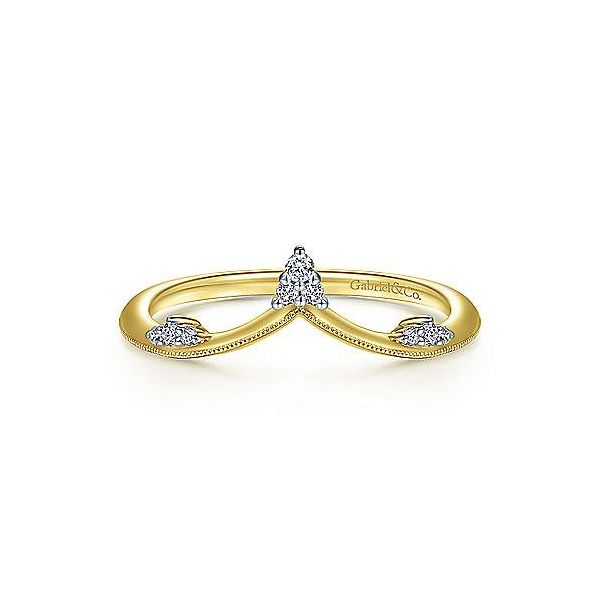 14K Yellow Gold Curved Diamond V Ring Van Adams Jewelers Snellville, GA