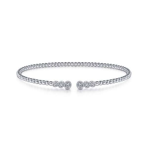 Gabriel & Co. 14K White Gold Bujukan Bead Split Cuff Bangle Van Adams Jewelers Snellville, GA