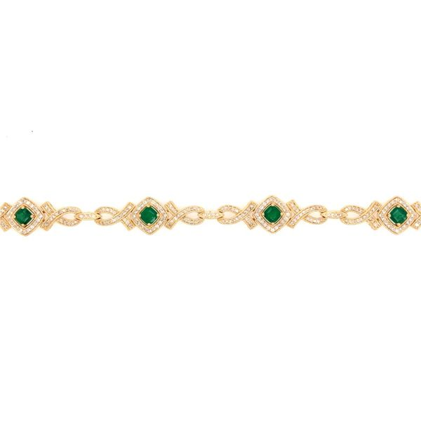14K Yellow Gold Emerald & Diamond Bracelet Van Adams Jewelers Snellville, GA