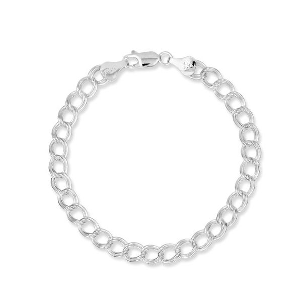 Sterling Silver Rhodium Plated 6mm Double Link Charm Bracelet Van Adams Jewelers Snellville, GA