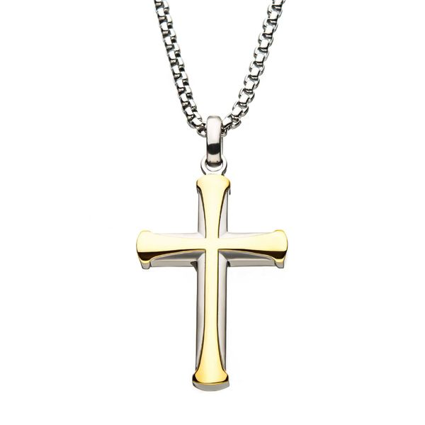 Stainless Steel Gold Plated Apostle Cross Pendant with Chain Van Adams Jewelers Snellville, GA