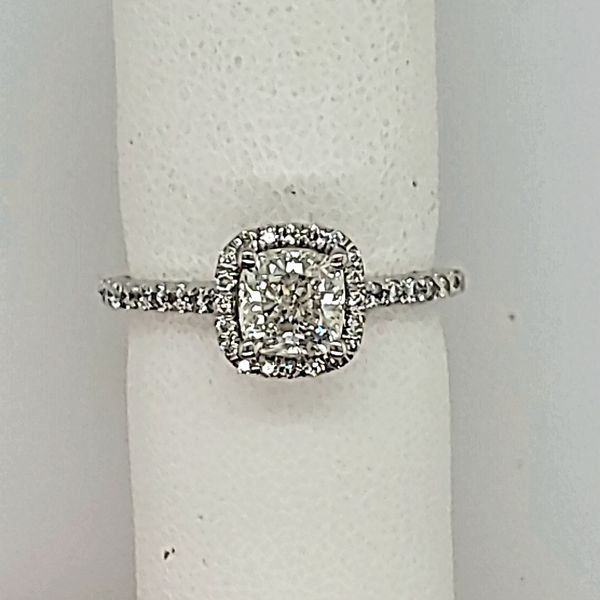ENGAGEMENT RING | CUSHION SHAPED DIAMOND RING| HALO SETTING Van Scoy Jewelers Wyomissing, PA