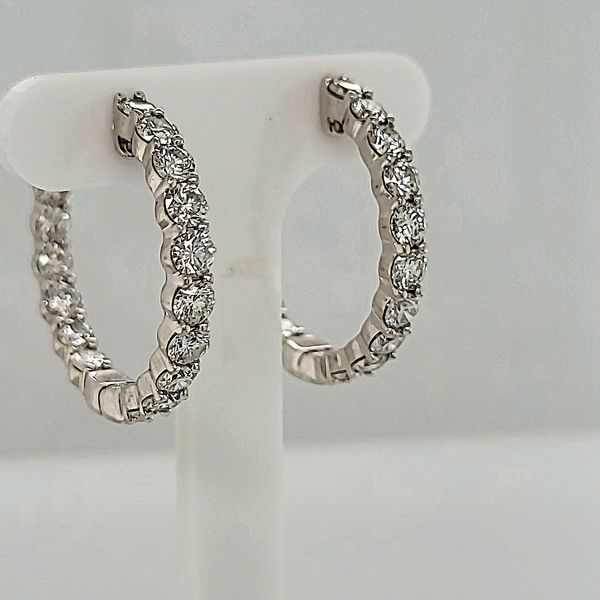DIAMOND EARRINGS | DIAMOND HOOP EARRINGS | INSIDE OUTSIDE DIAMOND HOOP EARRINGS Van Scoy Jewelers Wyomissing, PA