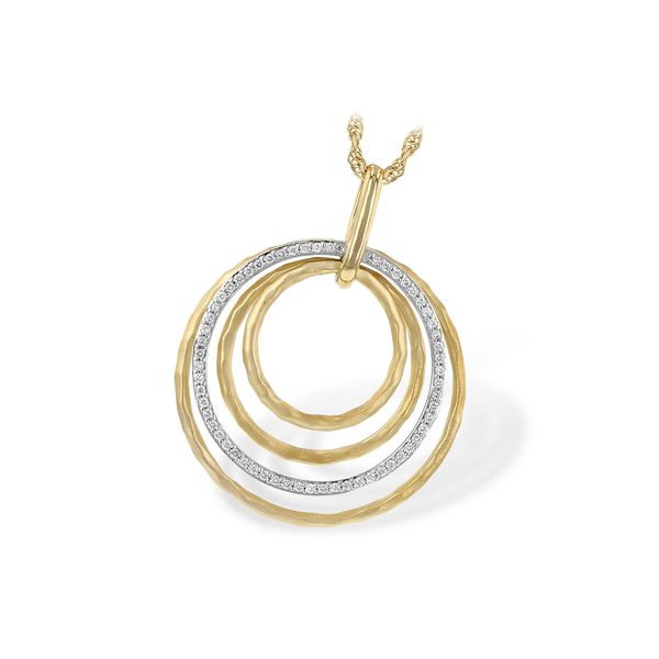 DIAMOND PENDANT | 14 KARAT TWO-TONE GOLD | WHITE GOLD AND YELLOW GOLD | 1/5 CARAT TOTAL DIAMOND WEIGHT \ CIRCLE PENDANT Van Scoy Jewelers Wyomissing,