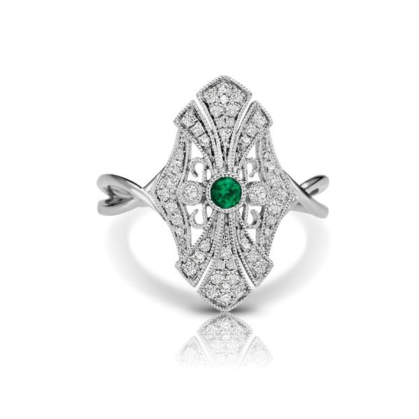 GEMSTONE RING | EMERALD | EMERALD AND DIAMOND | 14 KARAT WHITE GOLD | VINTAGE INSPIRED Van Scoy Jewelers Wyomissing,