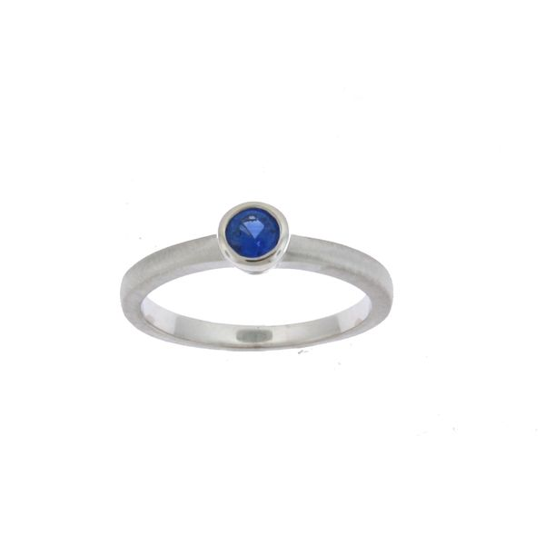GEMSTONE RING | BLUE SAPPHIRE | 14 KARAT WHITE GOLD | BEZEL SET Van Scoy Jewelers Wyomissing, PA