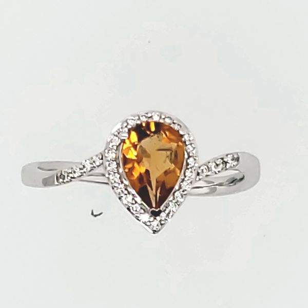 GEMSTONE RING | CITRINE | CITRINE AND DIAMOND RING | 18 KARAT WHITE GOLD Van Scoy Jewelers Wyomissing,