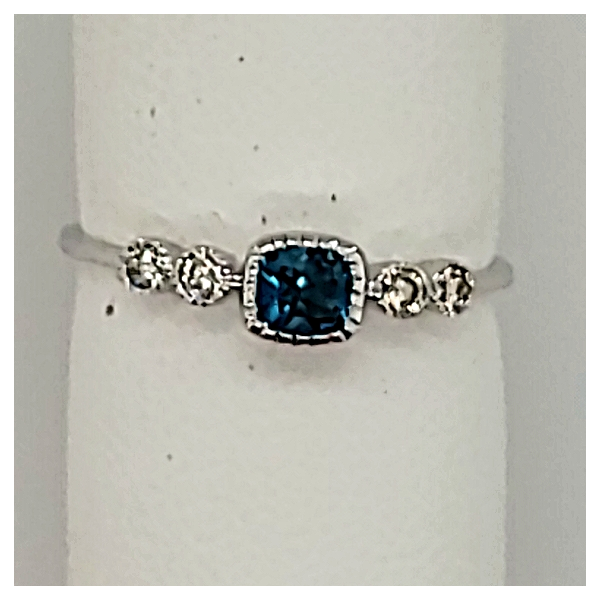14 KARAT WHITE GOLD BLUE TOPAZ AND DIAMOND RING Van Scoy Jewelers Wyomissing, PA