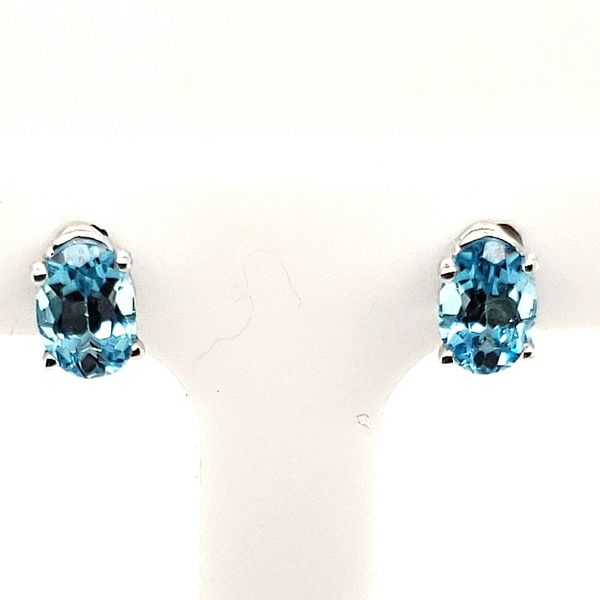 GEMSTONE EARRINGS | BLUE TOPAZ | 14 KARAT WHITE GOLD Van Scoy Jewelers Wyomissing, PA