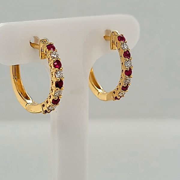 HOOP EARRINGS | 14 KARAT GOLD | RUBY | DIAMOND Van Scoy Jewelers Wyomissing, PA