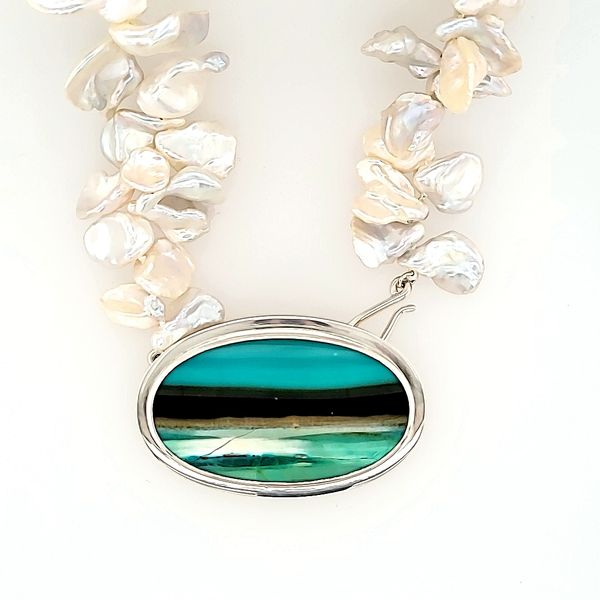 PATTI PAGE DESIGN | OPALIZED WOOD PENDANT | FRESH WATER PEARLS | STERLING SILVER Van Scoy Jewelers Wyomissing, PA