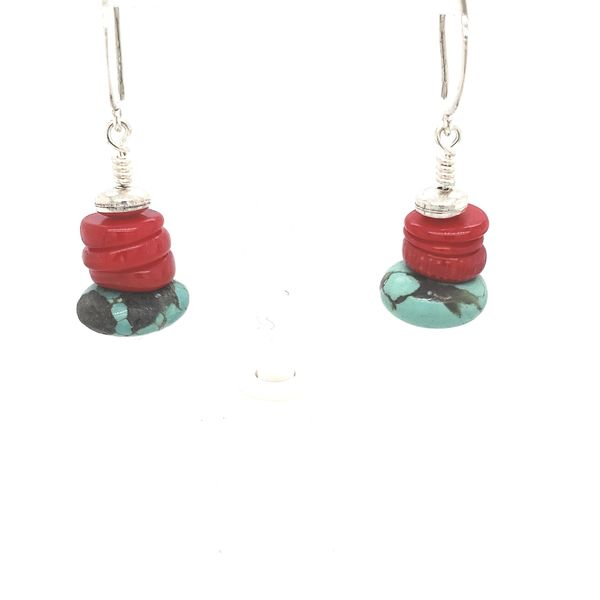 GEMSTONE EARRINGS \ PATTI PAGE DESIGNER | TURQUOISE | CORAL | STERLING SILVER Van Scoy Jewelers Wyomissing, PA