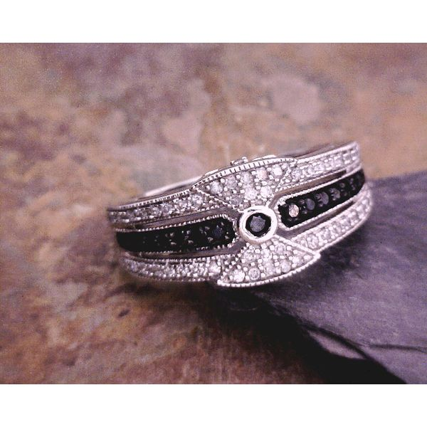14kt Black & White Diamond Band Vulcan's Forge LLC Kansas City, MO