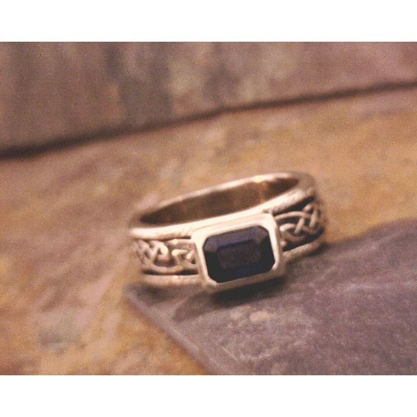 Custom Horizontal Sapphire Spinner Ring Vulcan's Forge LLC Kansas City, MO