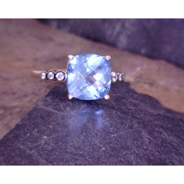 Sky Blue Topaz and Diamond Ring Vulcan's Forge LLC Kansas City, MO