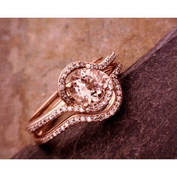 Morganite and Diamonds Set Ring Vulcan's Forge LLC Kansas City, MO