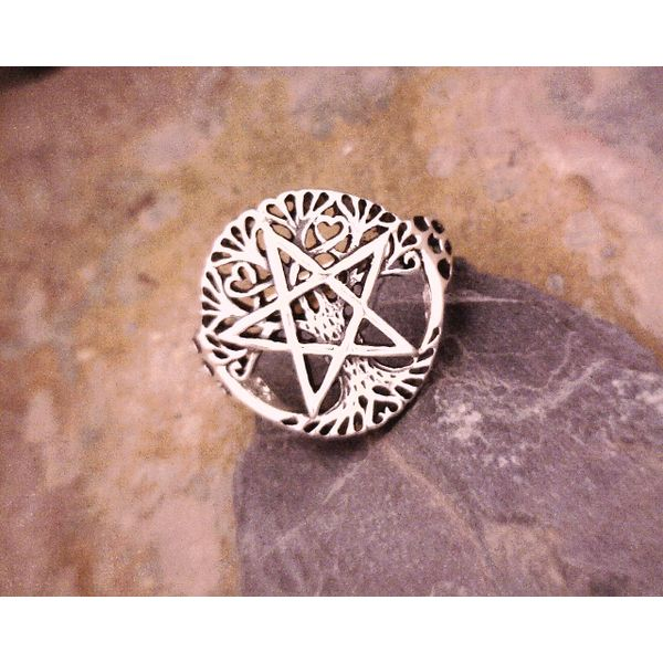 Silver Pentacle on Tree of Life Ring Vulcan's Forge LLC Kansas City, MO