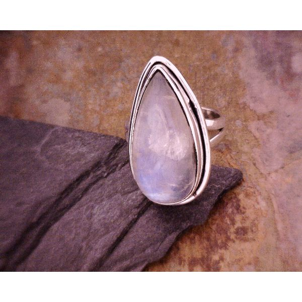 Sterling Teardrop Moonstone Ring Vulcan's Forge LLC Kansas City, MO