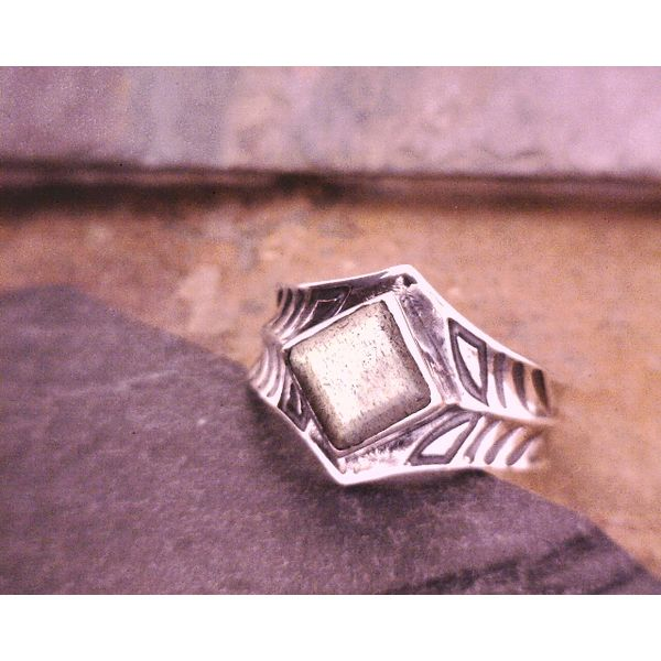 Sterling Cigar Band Ring With Labradorite Vulcan's Forge LLC Kansas City, MO