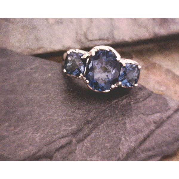 Sterling London Blue Topaz Tri-Stone Ring Vulcan's Forge LLC Kansas City, MO