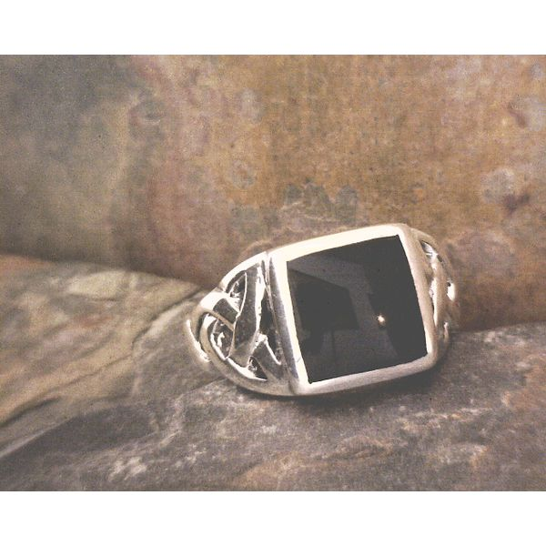 Sterling Celtic Knot Square Onyx Ring Vulcan's Forge LLC Kansas City, MO