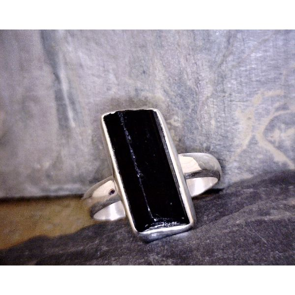 Sterling Rectangular Black Tourmaline Vulcan's Forge LLC Kansas City, MO