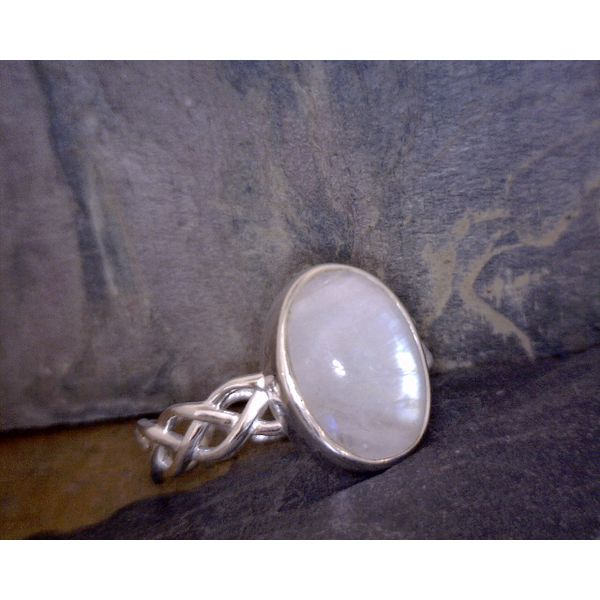 Sterling Oval Moonstone with Woven Band Vulcan's Forge LLC Kansas City, MO