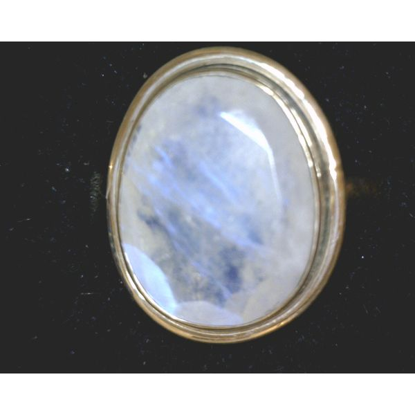 Sterling Oval Faceted Rainbow Moonstone Bezel Ring Vulcan's Forge LLC Kansas City, MO
