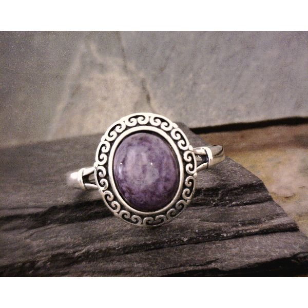 Silver Scroll Bezel Set Charoite Vulcan's Forge LLC Kansas City, MO